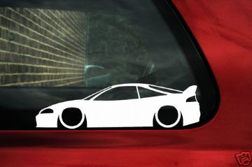 2x LOW Mitsubishi Eclipse (2G) GS, GSX, GS-T outline Silhouette stickers,Decals